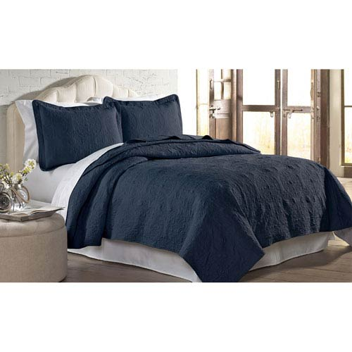 Indigo Solid Embroidered Two-Piece Twin Quilt Set