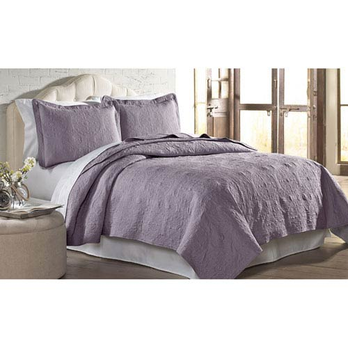 Lavender Solid Embroidered Two-Piece Twin Quilt Set