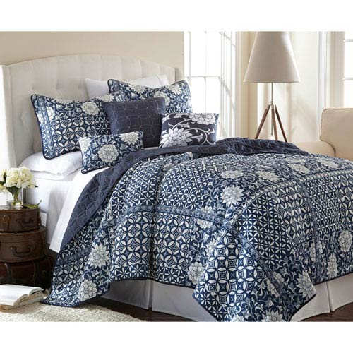 Zion Blue Six-Piece Reversible Queen Quilt Set
