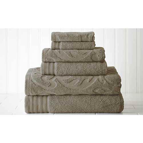 Jacquard/Solid Taupe Six-Piece Medallion Swirl Towel Set