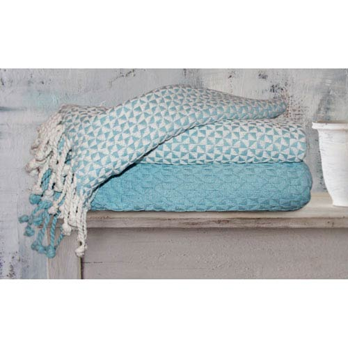 Picasso Ivory and Denim Cotton Throw, Set of Two