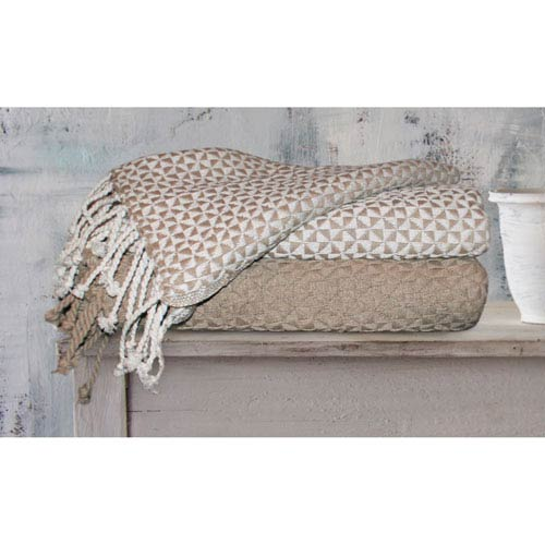 Picasso Ivory and Taupe Cotton Throw, Set of Two