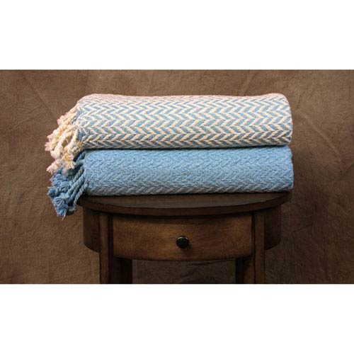 Monacco Ivory and Denim Cotton Throw, Set of Two