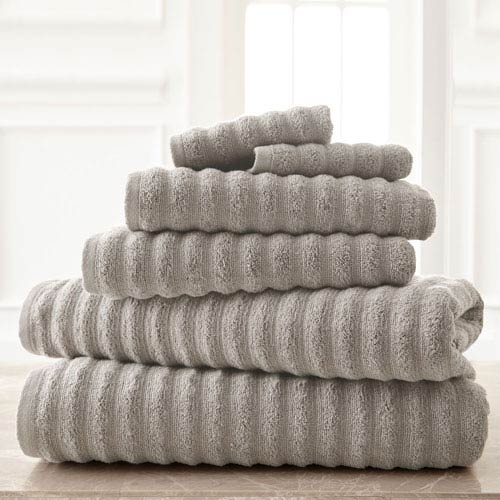 Wavy Luxury Spa Gray Six-Piece Quick Dry Towel Set