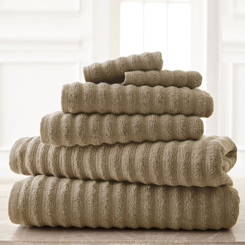 Wavy Luxury Spa Taupe Six-Piece Quick Dry Towel Set