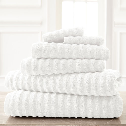 Wavy Luxury Spa White Six-Piece Quick Dry Towel Set