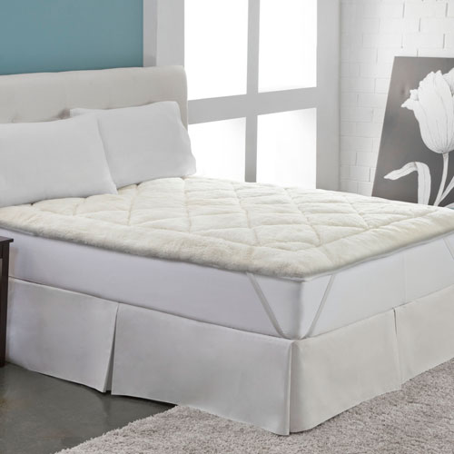 White Cool Wool Reversible Full Mattress Topper