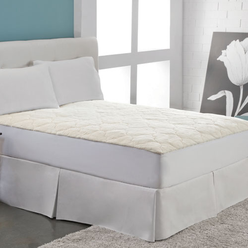 White Cotton Fleece Full Mattress Pad