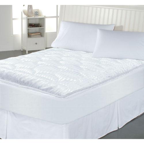 Perfect Fit White Luxury Stripe Twin Mattress Enhancer