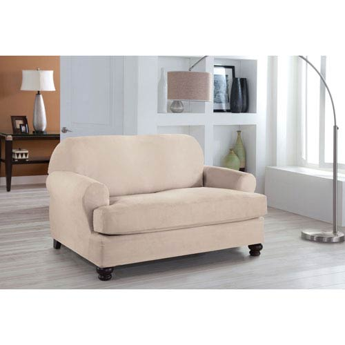 Stretch Fit Ivory Two-Piece T Cushion Loveseat Slipcover