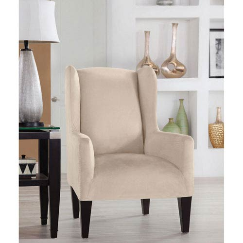 Stretch Fit Ivory Wingback Chair Slipcover