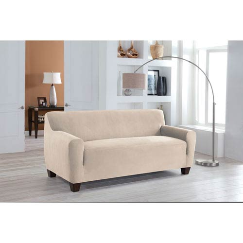 Stretch Fit Ivory One-Piece Sofa Slipcover
