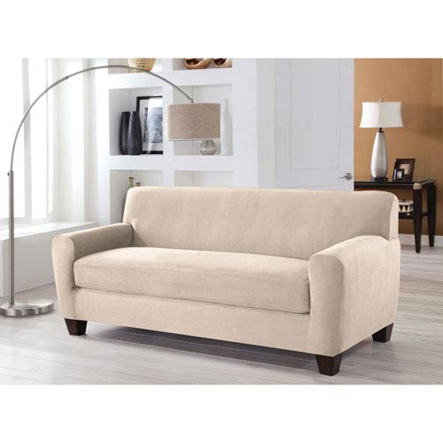 Perfect Fit Stretch Fit Ivory Two Piece Box Cushion Sofa Slipcover