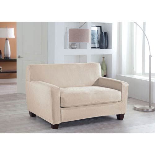 Perfect Fit Stretch Fit Ivory Two-Piece Box Cushion Loveseat Slipcover