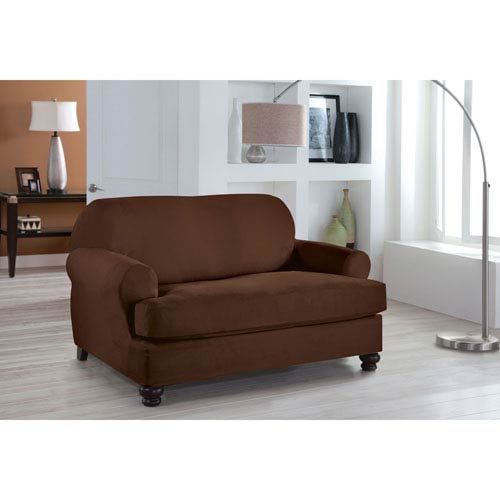 Perfect Fit Stretch Fit Cocoa Two-Piece T Cushion Loveseat Slipcover