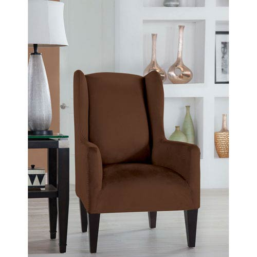 Stretch Fit Cocoa Wingback Chair Slipcover