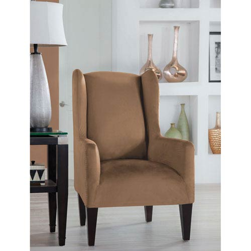 Perfect Fit Stretch Fit Camel Wingback Chair Slipcover