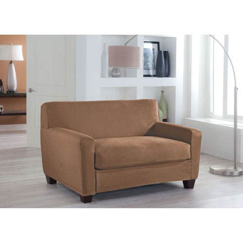 Perfect Fit Stretch Fit Camel Two-Piece Box Cushion Loveseat Slipcover