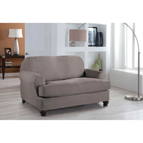 Stretch Fit Grey Two-Piece T Cushion Loveseat Slipcover