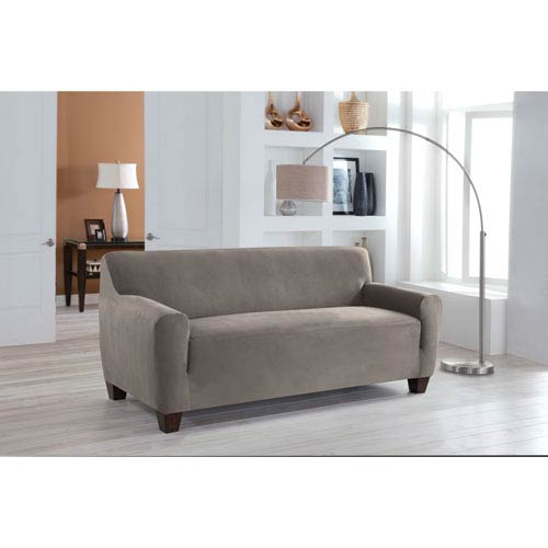 Perfect Fit Stretch Fit Grey One-Piece Sofa Slipcover