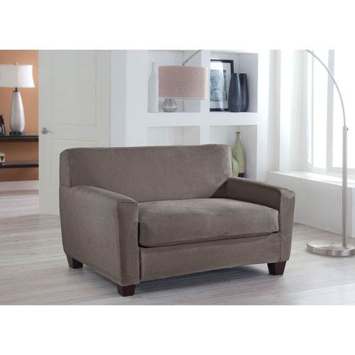 Perfect Fit Stretch Fit Grey Two-Piece Box Cushion Loveseat Slipcover