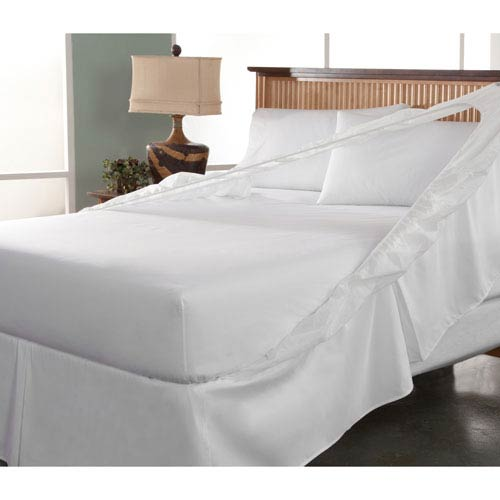 Easy On Easy Off White Twin Bedskirt and Box Spring Protector