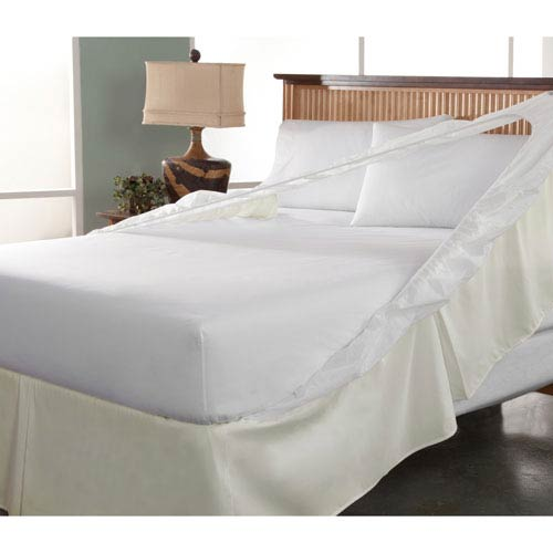 Easy On Easy Off Khaki Twin Bedskirt and Box Spring Protector