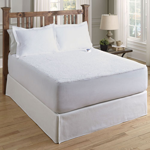 Serta White Sherpa Twin Warming Mattress Pad
