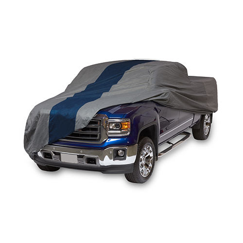 Double Defender Grey and Navy Blue Pickup Truck Cover for Crew Cab Dually Long Bed Trucks up to 22 Ft. Long