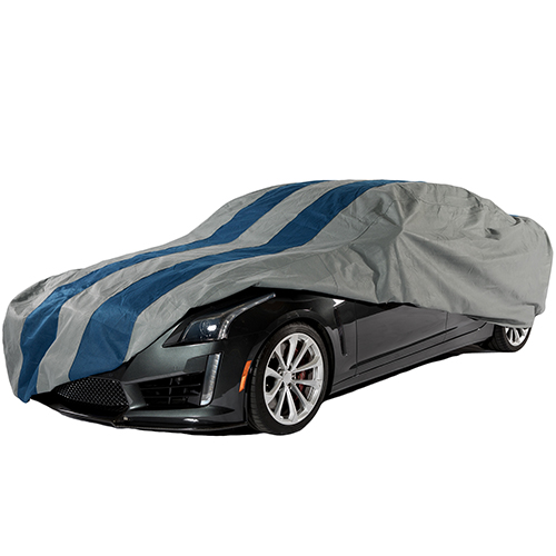 Rally X Defender Grey and Navy Blue Car Cover for Sedans up to 13 Ft. 1 In. Long