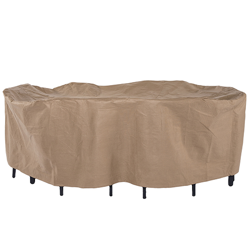 Essential Latte 140 In. Rectangular Oval Patio Table with Chairs Set Cover