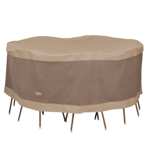 Elegant Swiss Coffee 76 In. Round Patio Table with Chairs Set Cover