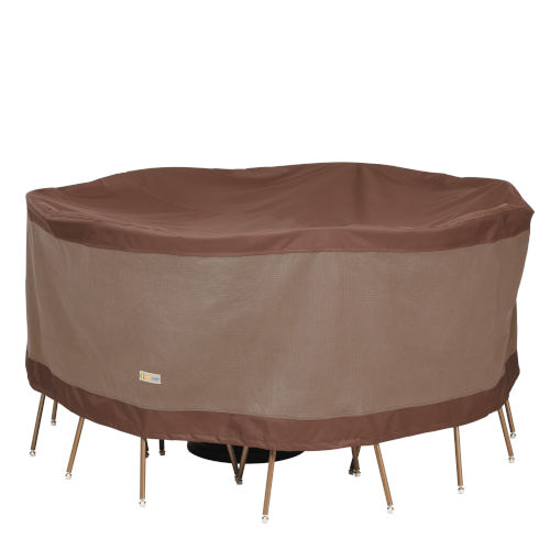 Ultimate Mocha Cappuccino 72-Inch Round Table and Chair Set Cover