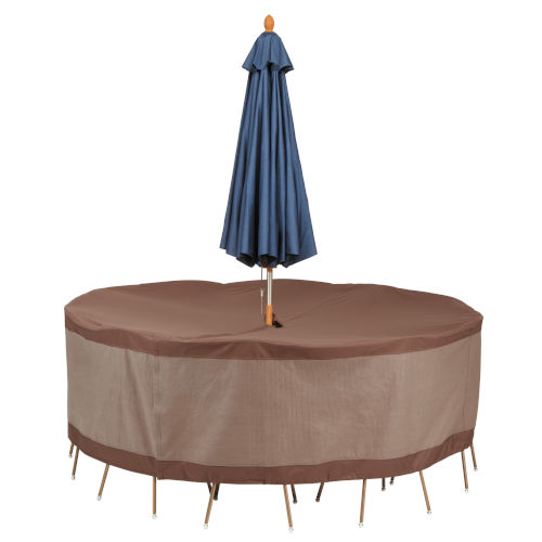 Ultimate Mocha Cappuccino 94-Inch Round Patio Table and Chair Set Cover with Umbrella Hole