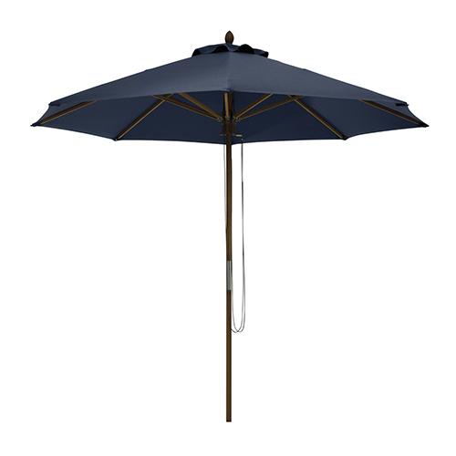 Elm Heather Indigo Blue Fade Safe 9 Ft. Round Bamboo Patio Umbrella