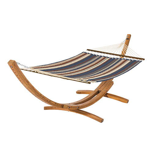 Elm Heather Indigo Blue Multi-Stripe Fade Safe Quilted Hammock with Wood Stand