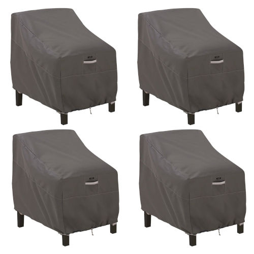 Maple Dark Taupe Patio Lounge Chair Cover, Set of 4