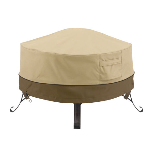 Ash Beige and Brown 24-Inch Full Coverage Round Fire Pit Cover