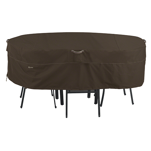 Birch Dark Cocoa X-Large RainProof Rectangular Oval Patio Table and Chair Set Cover