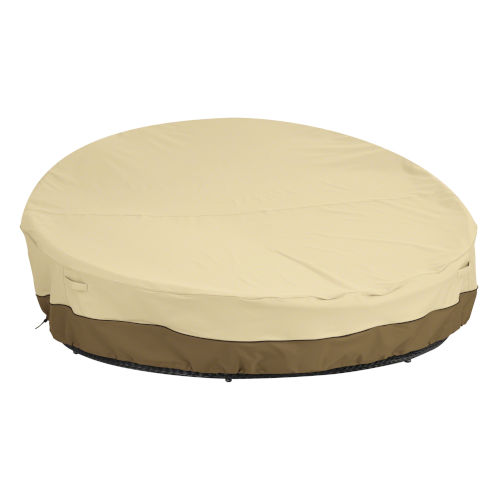 Ash Beige and Brown 90-Inch Round Patio Daybed Cover