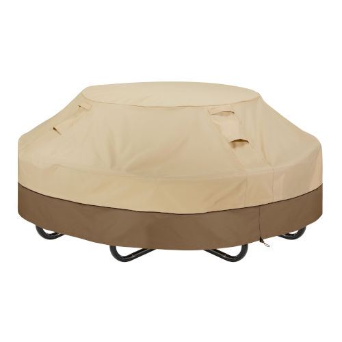 Ash Beige and Brown Round Picnic Table Cover