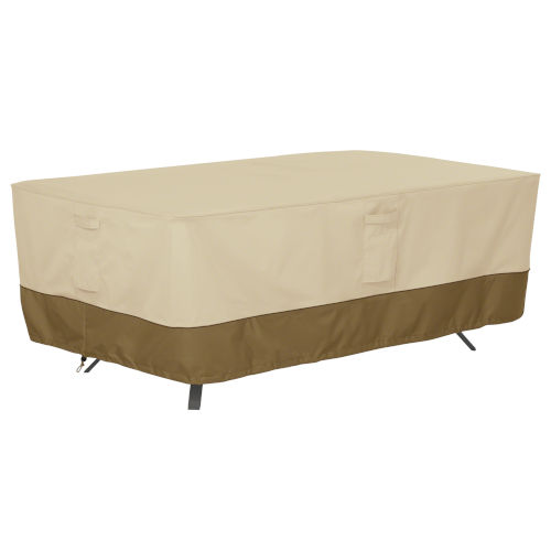 Ash Beige and Brown Rectangle Oval Patio Table Cover