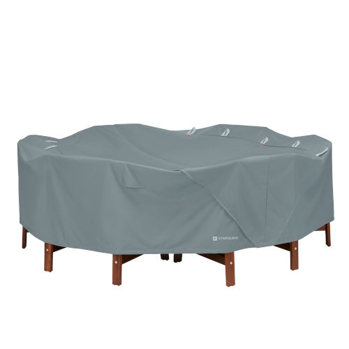Poplar Monument Grey Round Table and Chairs Cover