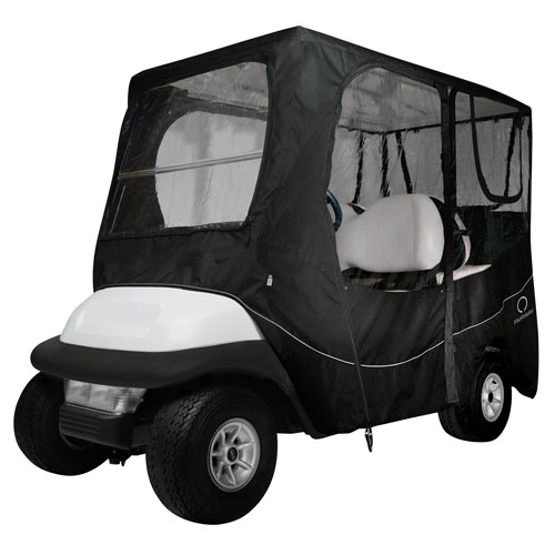 Fairway Deluxe Golf Car Enclosure, Long Roof, Black