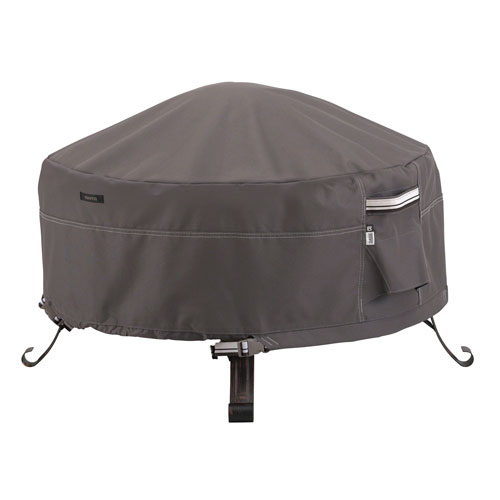 Classic Accessories Full Coverage Fire Pit Cover  Taupe- 36 Inch