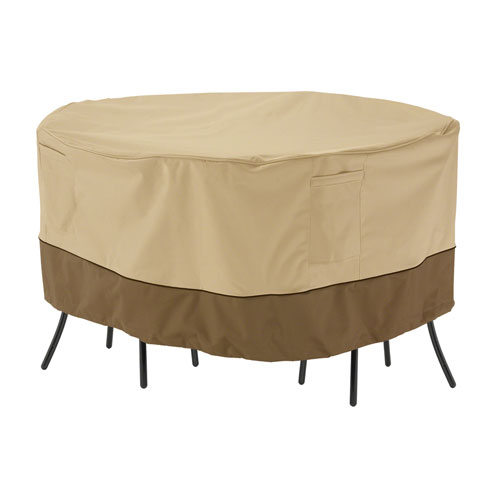 Ash Earth Toned Large Round Patio Bistro Table and Chair Set Cover