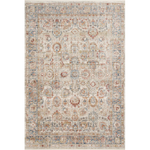 Claire Ivory and Ocean 11 Ft. 6 In. x 15 Ft. 7 In. Power Loomed Rug