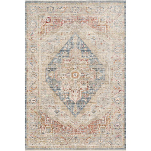 Claire Blue and Multicolor 5 Ft. 3 In. x 7 Ft. 9 In. Power Loomed Rug