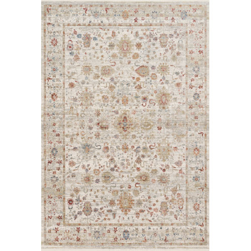 Claire Ivory and Multicolor 3 Ft. 7 In. x 5 Ft. 1 In. Power Loomed Rug