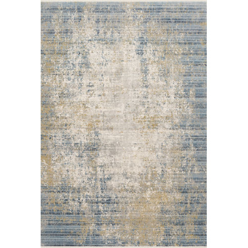 Claire Neutral and Sea 2 Ft. 7 In. x 8 Ft. Power Loomed Rug